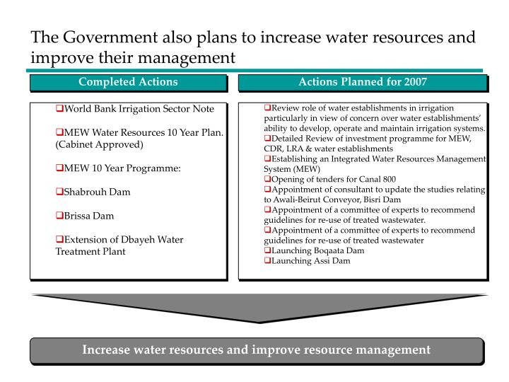 The Government also plans to increase water resources and improve their management
