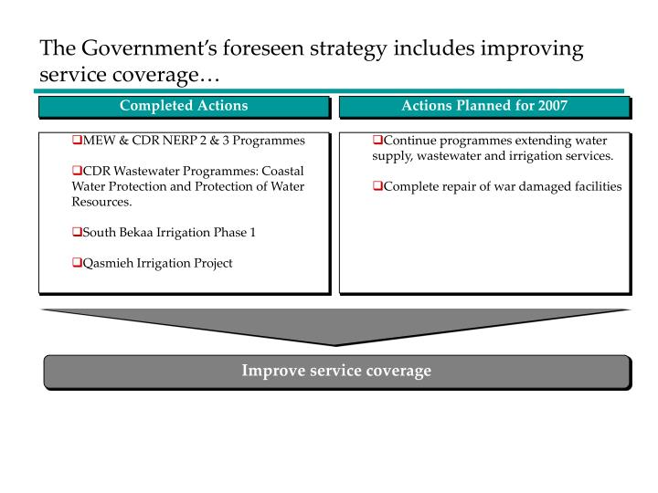 The Government's foreseen strategy includes improving service coverage…