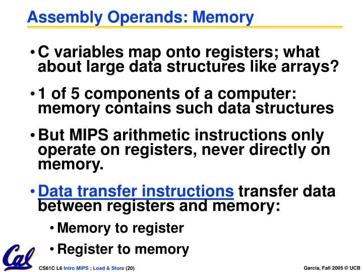 Assembly Operands: Memory