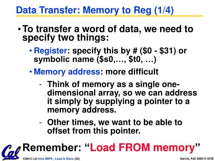 Data Transfer: Memory to Reg (1/4)