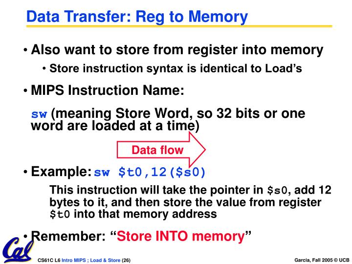 Data Transfer: Reg to Memory