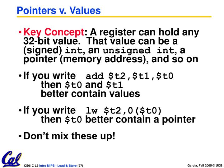 Pointers v. Values