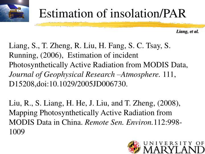 Estimation of insolation/PAR