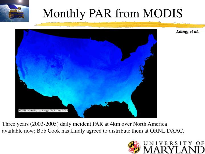 Monthly PAR from MODIS