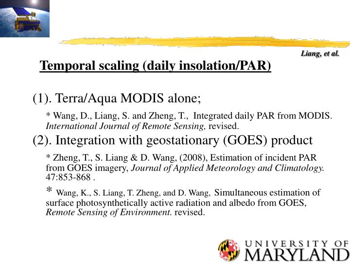 Temporal scaling (daily insolation/PAR)