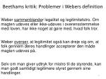 beethams kritik problemer i webers definition
