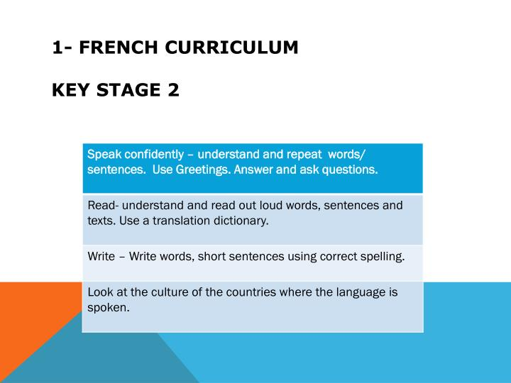1 french curriculum key stage 2