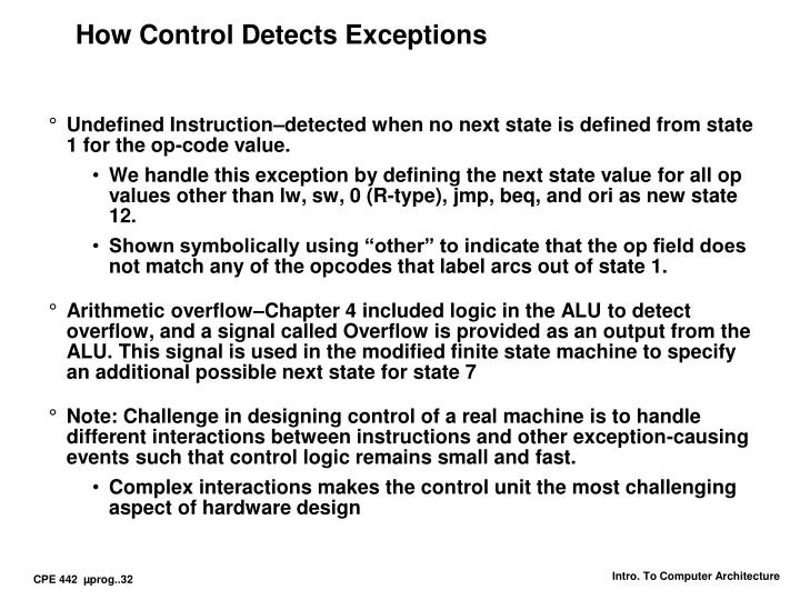 How Control Detects Exceptions