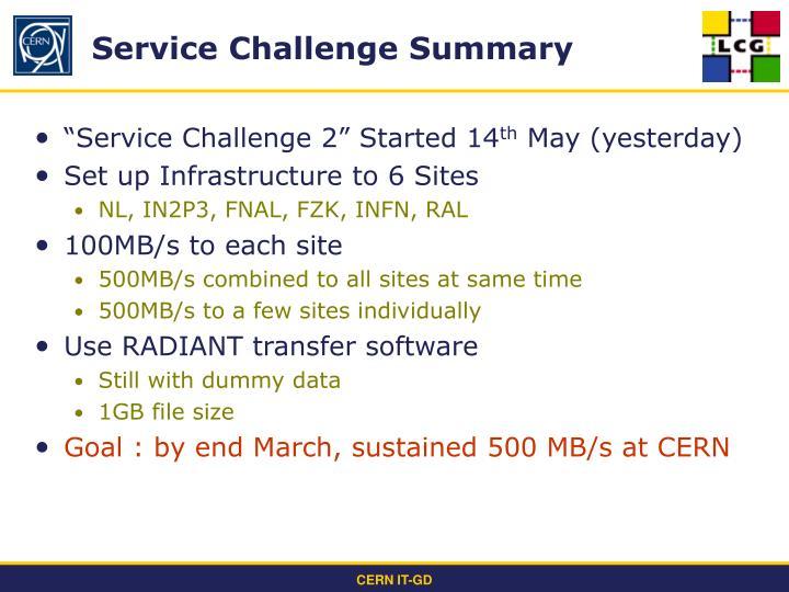 Service challenge summary
