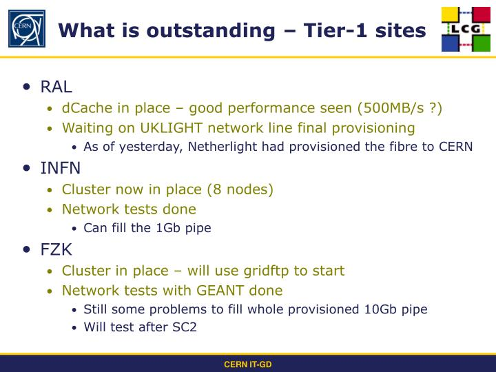 What is outstanding – Tier-1 sites