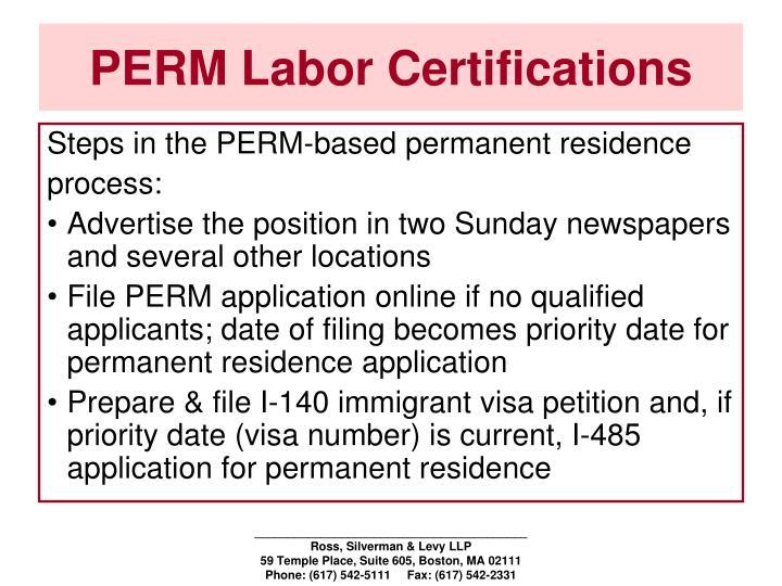 PERM Labor Certifications