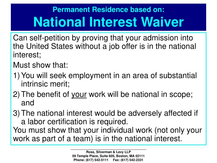 Permanent Residence based on: