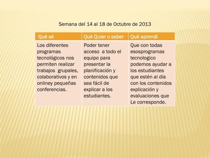 Semana del 14 al 18 de Octubre de 2013