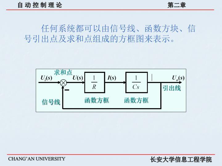 任何系统都可以由信号线、函数方块、信号引出点及求和点组成的方框图来表示。