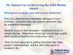 dr samuel lux on receiving the ash mentor award2