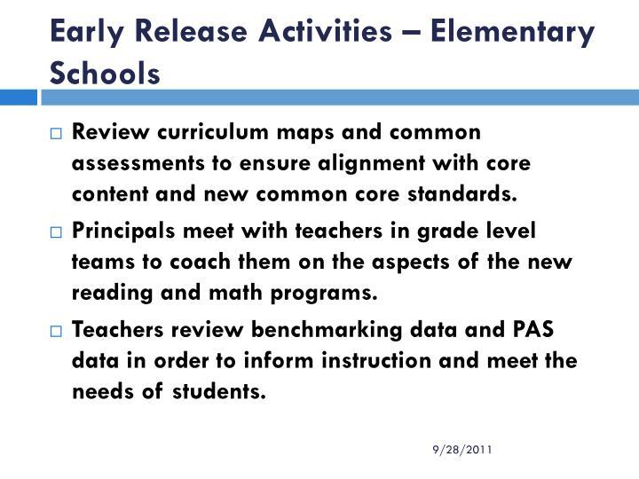 Early Release Activities – Elementary Schools