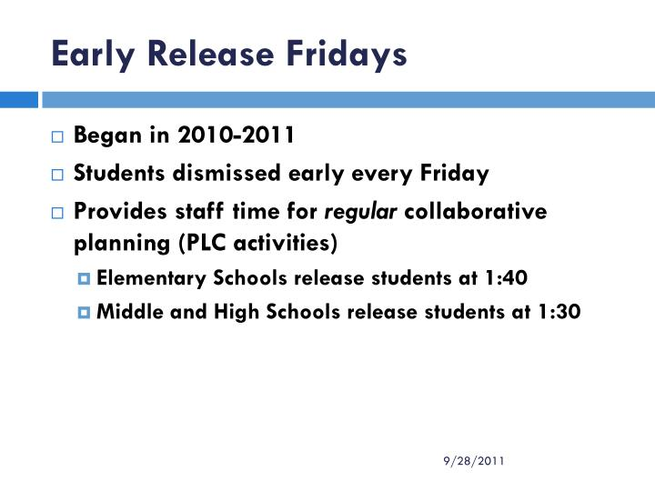 Early Release Fridays