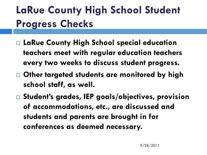 LaRue County High School Student Progress Checks