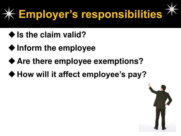 Employer's responsibilities