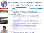 effectiveness tools contribute to better services in puerto cortes honduras