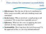 four criteria for consumer accountability tools