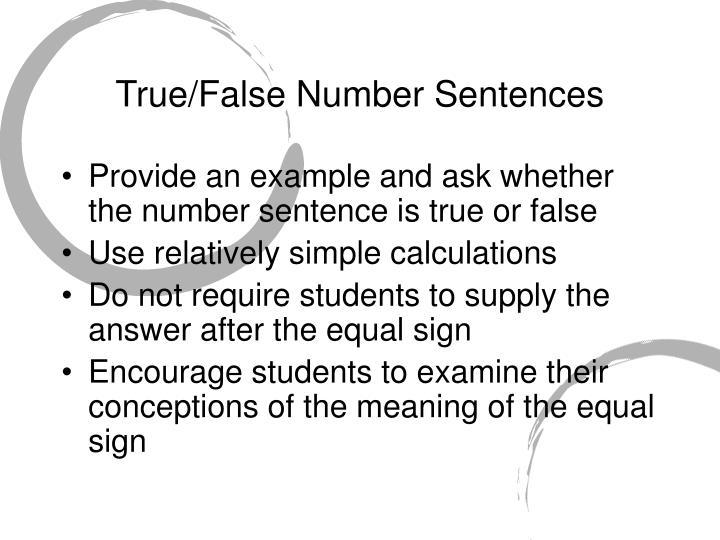 True/False Number Sentences
