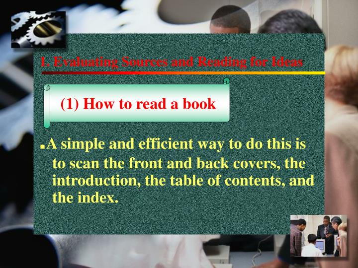 1 evaluating sources and reading for ideas