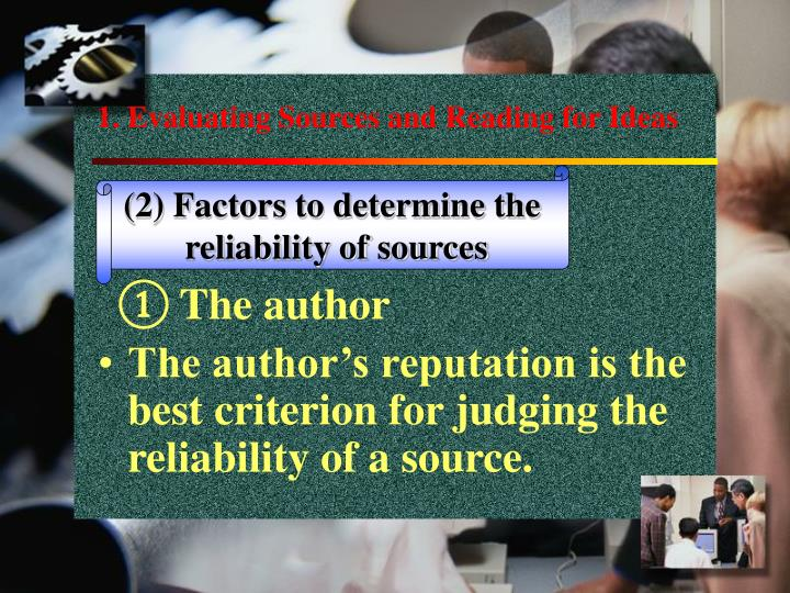 1. Evaluating Sources and Reading for Ideas