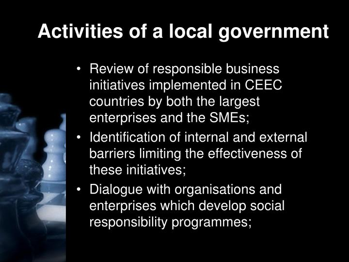 Activities of a local government
