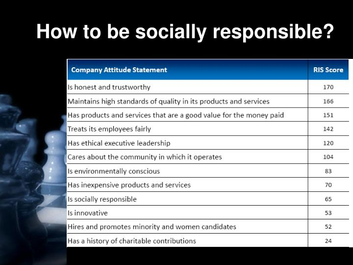 How to be socially responsible?