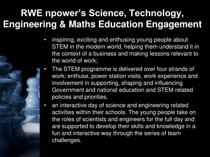 RWE npower's Science, Technology, Engineering & Maths Education Engagement