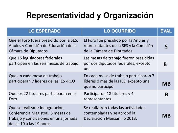 Representatividad y Organización