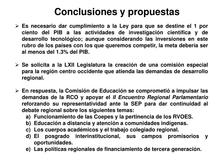 Conclusiones y propuestas