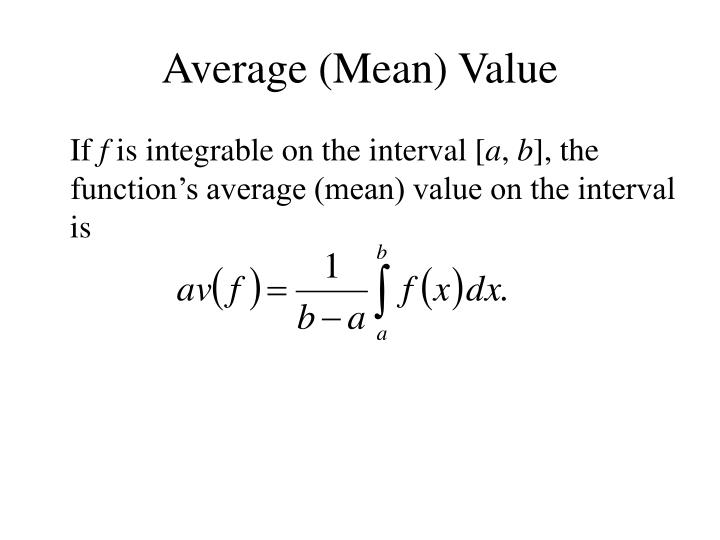 Average (Mean) Value