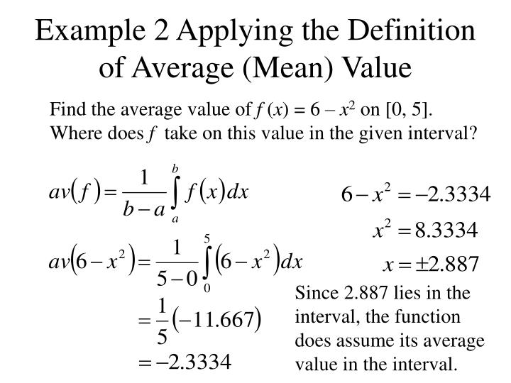 Example 2 Applying the Definition of Average (Mean) Value