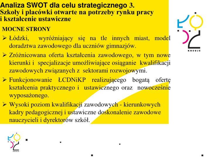Analiza SWOT dla celu strategicznego