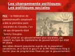 les changements politiques les politiques sociales
