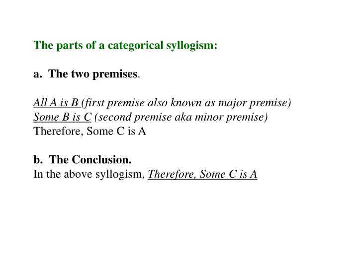 The parts of a categorical syllogism: