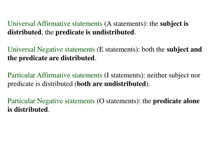 Universal Affirmative statements