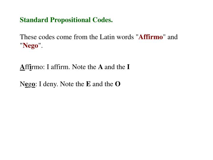 Standard Propositional Codes.