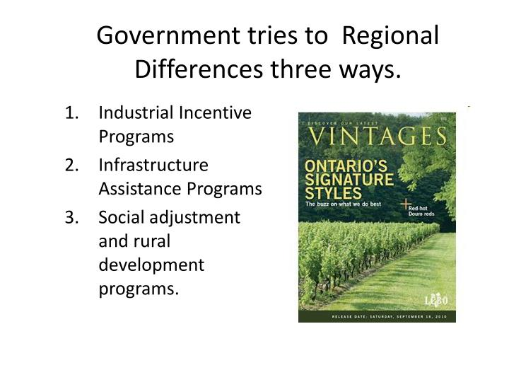 Government tries to  Regional Differences three ways.