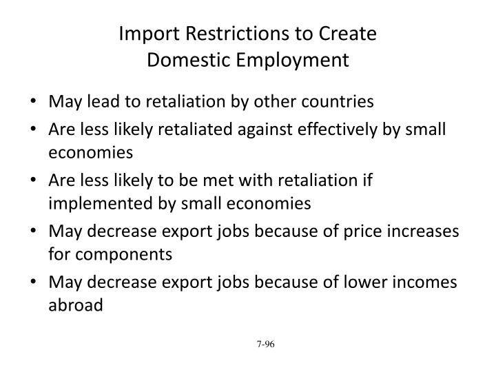 Import Restrictions to Create