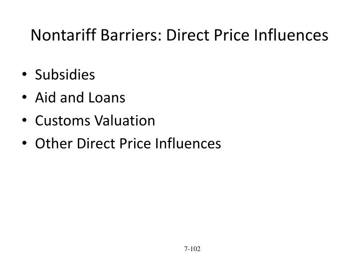 Nontariff Barriers: Direct Price Influences