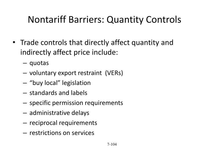 Nontariff Barriers: Quantity Controls