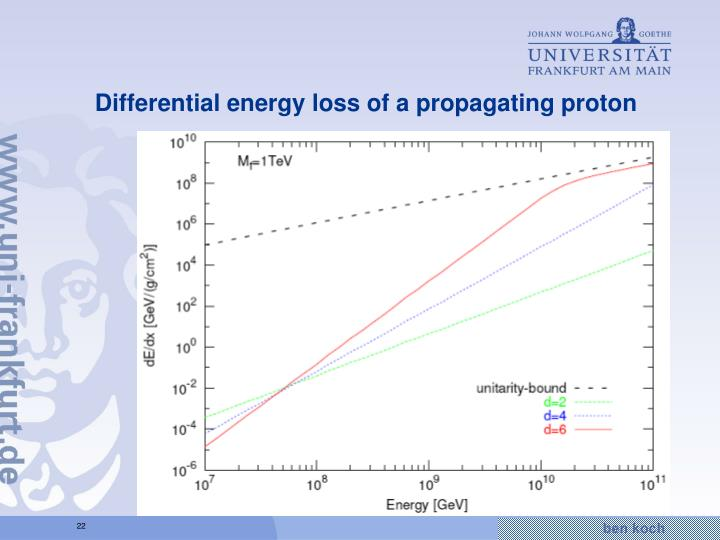 Differential energy loss of a propagating proton