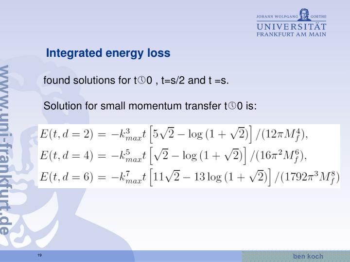 Integrated energy loss