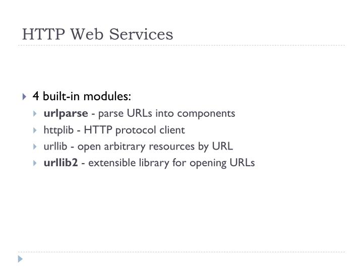 HTTP Web Services
