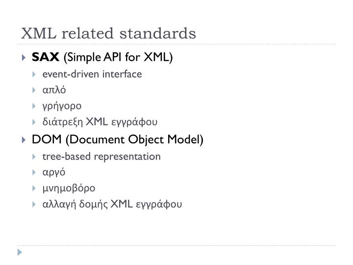 XML related standards