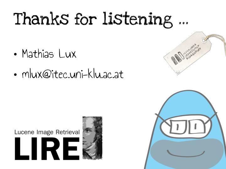 Thanks for listening …