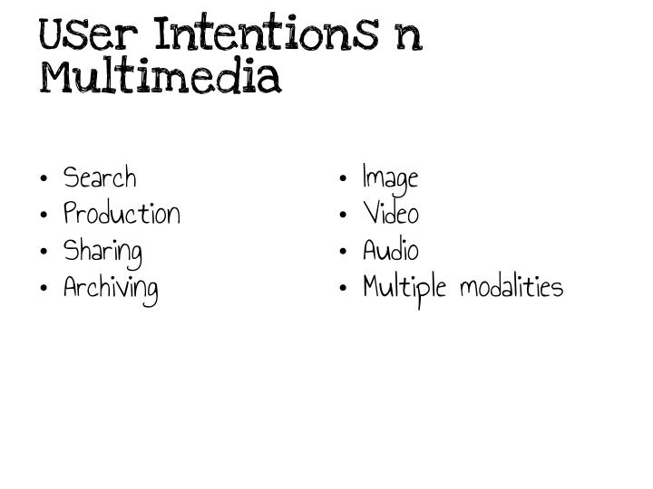 User Intentions n Multimedia